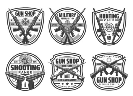 Military weapons of army pistols and firearms, hunter shotgun with bullets and cartridges