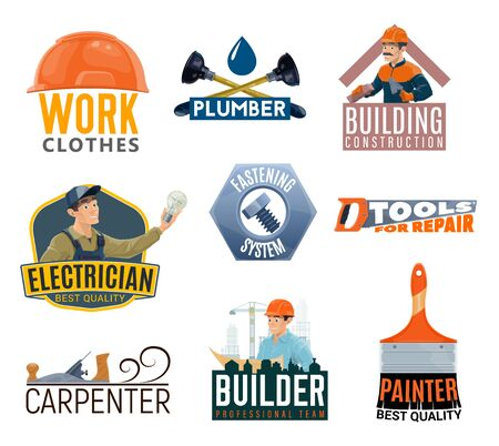 Construction and repair tools vector icons. Ilustracje wektorowe