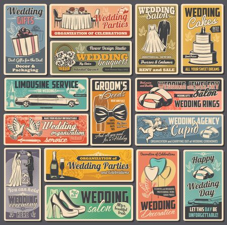 Wedding and marriage ceremony vintage vector posters.