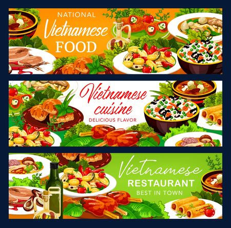 Vietnamese cuisine food banners. Asian restaurant vector vegetables with rice, baked fish and grilled meat cutlet, beef pho bo, noodles and mushroom soups, pancake rolls and stuffed pepper with cheese