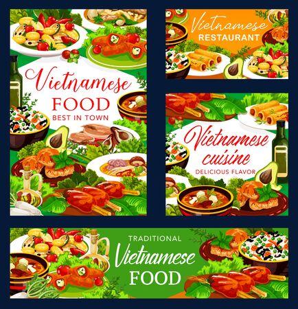 Vietnamese cuisine vector dishes for restaurant banners Ilustracje wektorowe