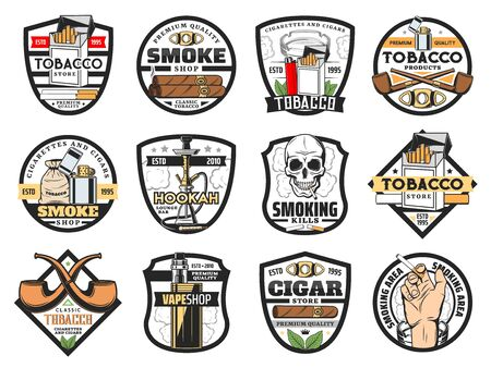 Tobacco store badges with vector