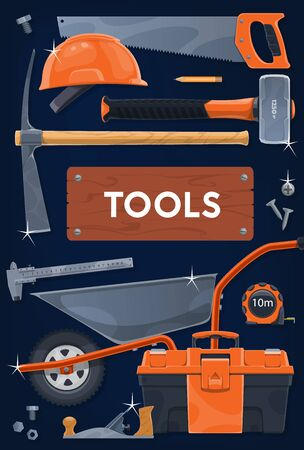 Construction and repair tools vector design. DIY, carpentry and building industry work tools. Toolbox with hammer, saw and hard hat or helmet, screws, tape measure, wheelbarrow and pickaxe