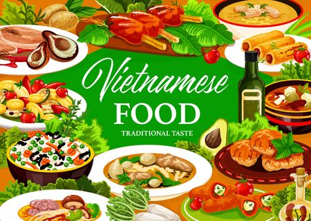 Vietnamese cuisine meals. Vector asian cuisine dishes food frame. Vegetable rice, baked fish and grilled meat, beef pho bo and mushroom noodle soups, sweet pancakes and peppers stuffed with cheese