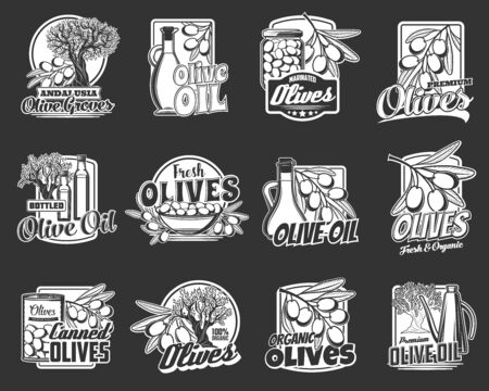 Olive oil, fresh and canned fruit vector badges of organic food