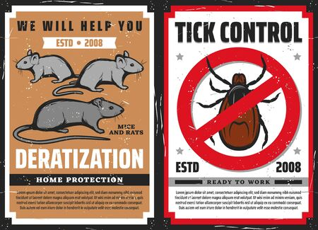 Pest control vector design with rat or mouse and tick with red warning sign.