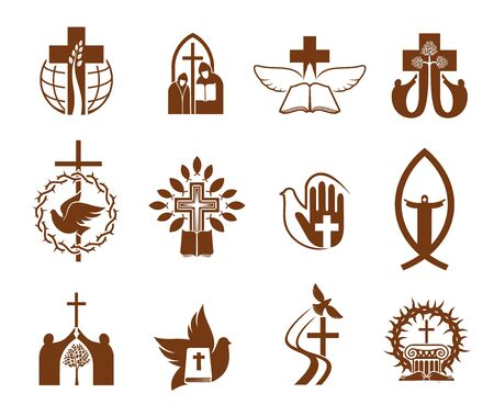 Christian religion vector icons with crosses Векторная Иллюстрация