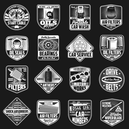 Car maintenance and spare part vector icons, service and mechanic garage station.
