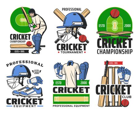 Cricket game equipment and sporting championship symbols