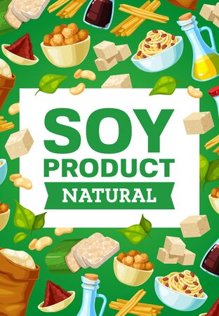 Soy food and beans banner with vector soybean