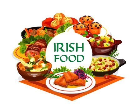 Irish cuisine food vector design of vegetable meal with meat stews and fish dishes. Mashed potato colcannon, red cabbage salad, grilled salmon, beef and lamb, soda bread and lingonberry cupcakes Ilustracja
