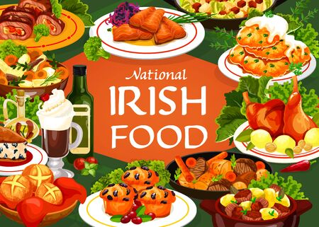 Irish cuisine food vector meal of meat, vegetable and fish with bread. Potato pancakes, irish stews with beef, lamb and rabbit, soda bread and berry cupcake, salmon with cabbage salad and colcannon
