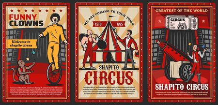 Circus performers on chapiteau top tent arena vector posters of carnival show. Clown, acrobat and juggler, trained monkey animal, strongman, rocketman and barker with circus tickets, barbell and balls Vektorové ilustrace