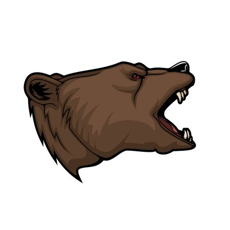 Bear or grizzly animal head vector mascot. Sport, hunting and zoo symbol of wild angry brown bear, aggressive predatory mammal roaring with open jaws, fang teeth and red eyes Illustration