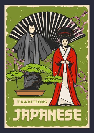 Japanese Kabuki and Noh theatre actors with bonsai tree and fan vector design of Asian culture.
