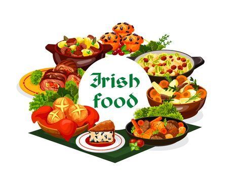 Irish cuisine food with vegetable meat stews and bread vector design. Mashed potato and cabbage colcannon, soda and raisins bread, baked beef rolls, lamb stew and lingonberry cupcakes, Ireland meal