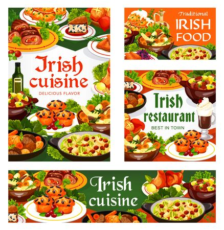 Irish cuisine meat, vegetable and fish meal with desserts, vector food. Beef, lamb and rabbit stews, potato pancakes, cabbage salad and grilled salmon, soda bread, lingonberry cupcakes and colcannon