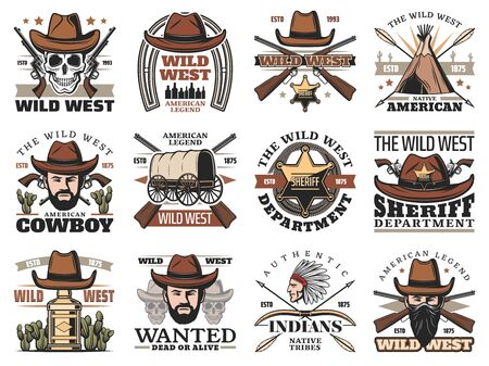Wild West cowboy skull and sheriff with hat and gun vector icons.