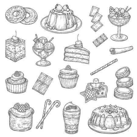 Cake and pastry dessert sketches of sweet food. Vector cakes, cupcakes and muffins with chocolate cream, fruit pie, ice cream and chocolate candy, donuts, biscuits or cookies, macarons and cheesecake