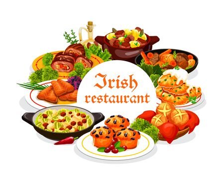 Irish restaurant food with vector dishes of vegetable, meat and fish with dessert. Irish stews with beef, rabbit and lamb, potato pancakes and colcannon, salmon, cabbage salad, soda bread and cupcakes