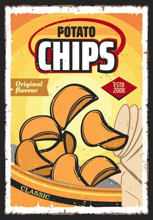 Potato chips or crisps, vector vegetable snack food. Crunchy and salty slices of deep fried potato with spices spilled out of bag, junk food or appetizer retro poster design