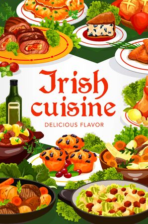 Irish cuisine vector dishes of meat, fish and vegetable food. Irish stews with beef, lamb and rabbit, potato pancakes and mashed colcannon, raisins bread, cabbage salad and cupcakes frame border
