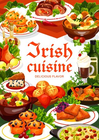 Irish cuisine meal of vegetable, meat and fish, vector food. Potato pancakes, beef and rabbit stews, grilled salmon with cabbage salad, colcannon, soda bread and lingonberry cupcakes with Irish coffee