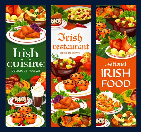 Irish cuisine vegetable meat stew, fish and soda bread, food vector banners. Potato pancakes, cabbage salad and grilled salmon, lamb, beef and rabbit stews, lingonberry cupcakes and colcannon Ilustracja