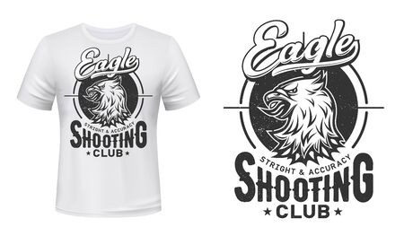 Bald eagle print vector mockup of t-shirt for shooting sport and shooter club design. Heraldic bird head of sea eagle, falcon or hawk with gun, rifle or shotgun target and grunge letterings Vettoriali