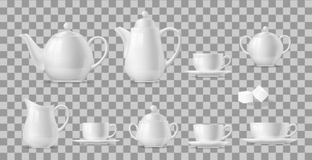 Tea or coffee set on transparent