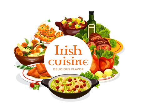 Irish cuisine meat and fish dishes with vegetables, vector food. Irish stew, baked beef rolls and rabbit, potato pancakes and red cabbage salad with grilled salmon and colcannon with spices and herbs Ilustracja