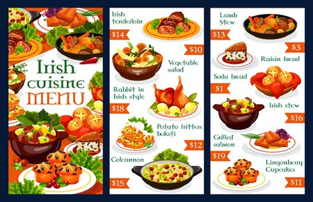 Irish restaurant menu template. Vector dishes of vegetable meat stews, potato pancakes, grilled salmon fish and cabbage salad, soda bread, beef, rabbit and lamb, lingonberry cupcakes and colcannon