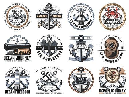 Nautical icons of sea travel and ocean adventure vector design.