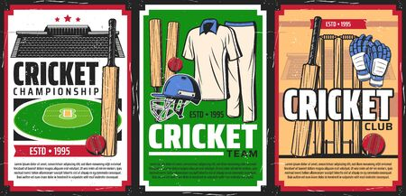 Cricket sport game equipment and stadium. Vector cricket balls, bats and wickets, player uniform, gloves and helmet with green ground and tribunes retro posters of sport club and championship match