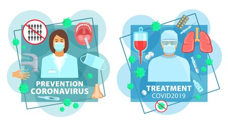 Coronavirus prevention and treatment medicine, hand wash and medical test, vector. Coronavirus COVID 19 pandemic and epidemic antiviral treatment, doctor in masks, blood transfusion and medical help