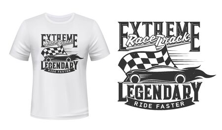 Car races, rally track, vector t-shirt print on mockup template. Sport car racing club and extreme speed drag races track, start and finish flag sign for t shirt print