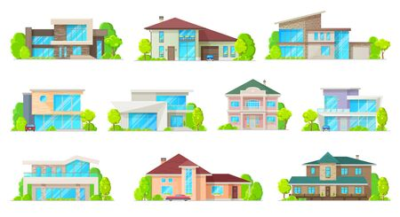 Private houses and hones, reals estate facades vector flat icons. Residential villas and mansion buildings, family houses, cottages, townhouse property, luxury duplex apartments with garage and garden