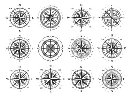 Nautical compass wind rose vector icons. Isolated vintage symbols of marine maps and antique cartography, navigation compass rose or windrose with cardinal directions of North, East, South and West Vector Illustratie