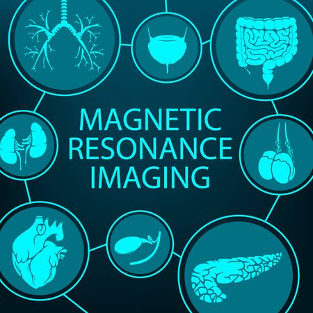 MRI magnetic resonance imaging, medical diagnostic and healthcare clinic radiology, vector poster. MRI analysis and diagnostics of digestive, respiratory and urogenital system for cancer oncology