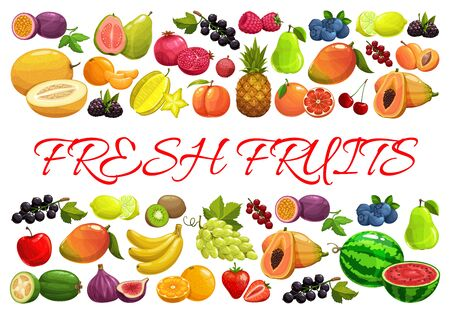Fruits and berries, exotic tropical garden and farm market harvest, vector poster. Tropic pineapple, banana and papaya, strawberry, raspberry and blackcurrant, watermelon and grape, blueberry and pear
