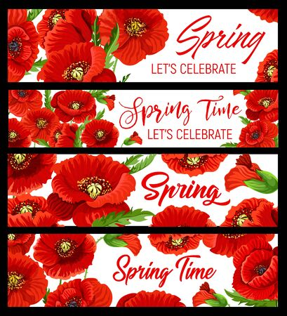 Spring time vector banners with poppy flowers. Hello spring, season holiday celebration, blooming flowers and red petals bouquet frame