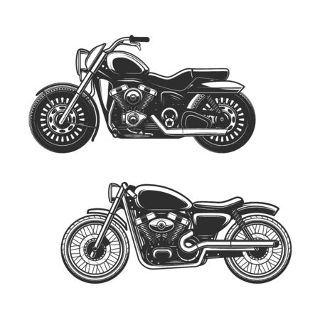 Motorcycle or bike isolated icons of race sport, road vehicle and transportation vector design. Motorbikes, side view of cruiser and bobber with engine cylinders, wheels and tires, gas tanks and seats