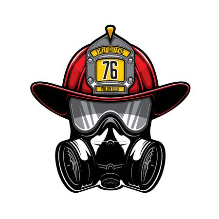 Firefighter protective helmet and gas respirator isolated vector heraldic icon. Firefighting equipment, mask with glasses and air filters. Defense and protection against poisoning by fumes and smoke