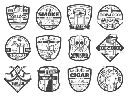 Tobacco smoking vector icons with cigarettes, cigars and smoke pipes, hookah and vape. Cigarette boxes, skull smoker and ashtray, matches, lighter and cigar cutter monochrome badges Vettoriali
