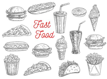 Fast food sketch vector icons of burgers, sandwiches, hot dogs, desserts and snacks. Fastfood hand drawn pizza, cheeseburger, takeaway soda drink glass, Mexican taco and popcorn, fries and donut