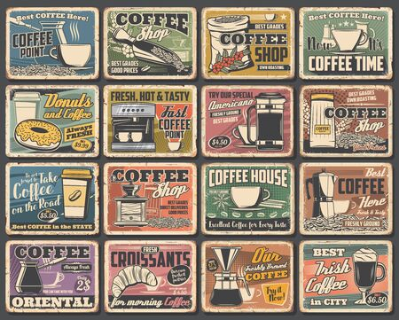 Coffee cups and espresso machine grunge posters of cafe vector design. Hot drink and beverage mugs with cappuccino, latte and mocha, coffee bean grinder, pot and paper cup, croissant, sugar and milk