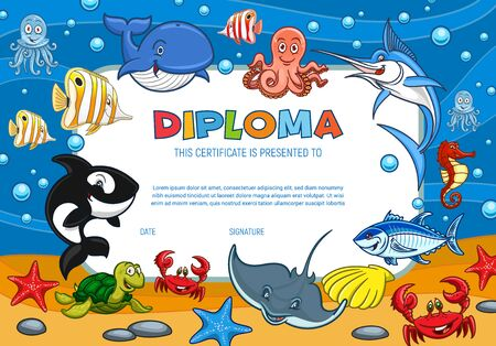 Diploma certificate with cartoon underwater world fishes and ocean creature, vector template. Kindergarten and kid school diploma certificate with smiling whale, octopus and seashells in water