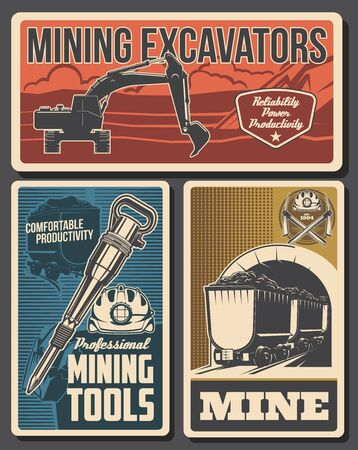 Mine industry vector design of coal mining equipment and miner tools. Hard hat, pickaxes, excavator and pneumatic coal hammer, helmet, headlamp, mine trolley with black mineral rocks or iron stones Banque d'images - 144102632
