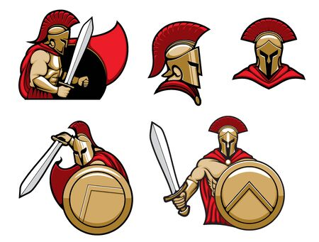 Spartan warrior in helmet with shield and sword, vector heraldic icons. Greek Spartan or Roman Gladiator warrior knight in red cape and golden helmet