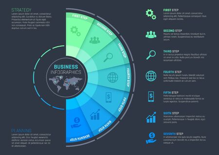 Business infographics with vector template of presentation step chart, process graph or options diagram with world map. Business strategy and planning flowchart or workflow with icons, text layouts
